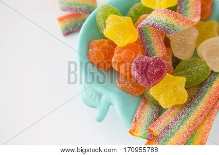 Candy Background. Colorful Candies In Plate On Light Background