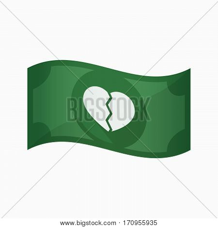 Isolated Bank Note With A Broken Heart
