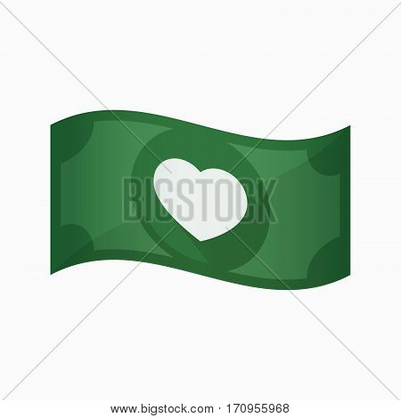 Isolated Bank Note With A Heart