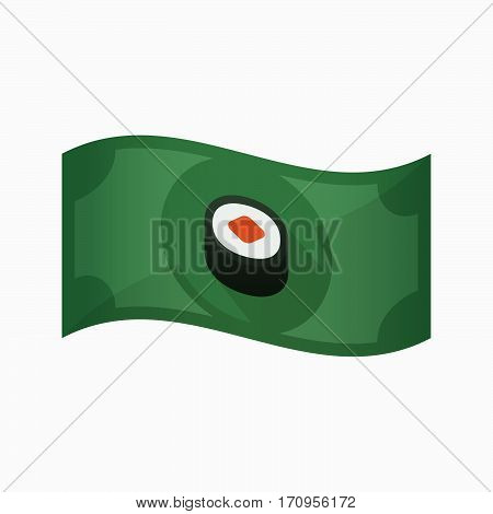 Isolated Bank Note With A Piece Of Sushi Maki
