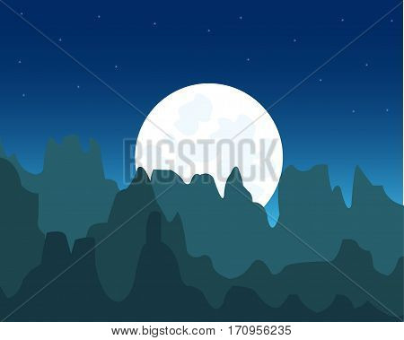 The Night landscape with mountain and moon.Mountains in the night