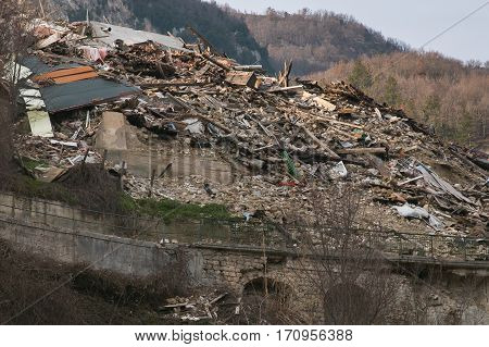 The ruins of Pescara del Tronto village destroyed by earthquake