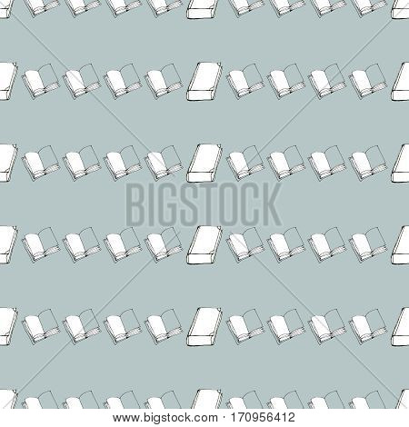 Seamless vector doodle pattern with rows of books. Library hand drawn sketchy background. Reading and education.