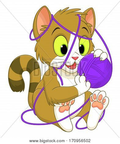 Funny cartoon kitten playing with a ball of yarn.