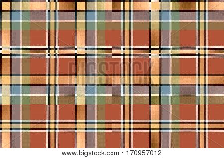 Brown yellow check plaid pixeled seamless texture. Vector illustration.
