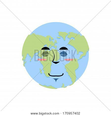 Earth Sleeping Emoji. Planet Asleep Emotion Isolated