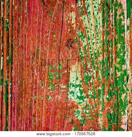 old painted wood texture closeup background in red and green colors