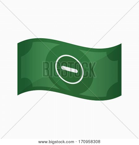 Isolated Bank Note With A Subtraction Sign