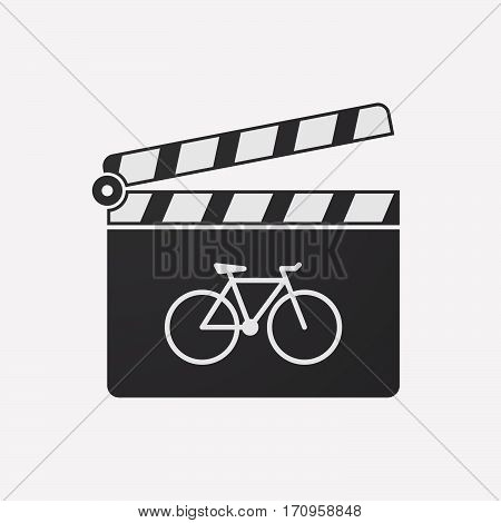 Isolated Clapper Board With A Bicycle