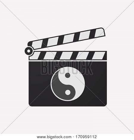 Isolated Clapper Board With A Ying Yang