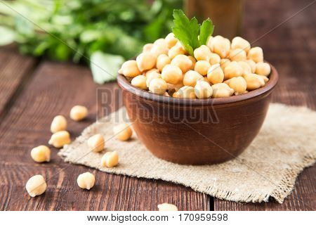Cooked Chickpeas On A Bowl. Chickpeas Is Nutritious Food. Healthy And Vegetarian Food