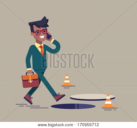 African american businessman going on the street and talking by cell phone. He does not notice open manhole and could fall. Business risks and insurance concept. Vector illustration.