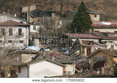 Accumoli village destroyed by terrific earthquake, Italy