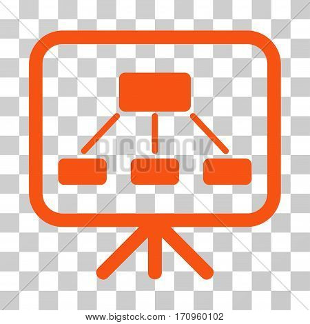 Scheme Demonstration Screen icon. Vector illustration style is flat iconic symbol orange color transparent background. Designed for web and software interfaces.