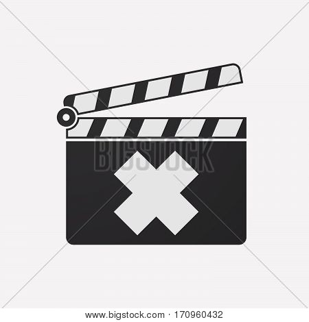 Isolated Clapper Board With An Irritating Substance Sign