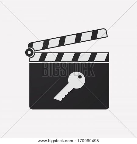 Isolated Clapper Board With A Key