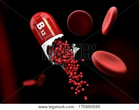 3d Illustration of Vitamin B12 Capsule dissolves in the stomach