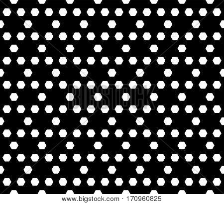 Vector seamless pattern. Simple dark modern geometric texture with hexagons. Monochrome illustration of hexagonal grid. Repeating black & white abstract background. Design for prints, decoration, textile