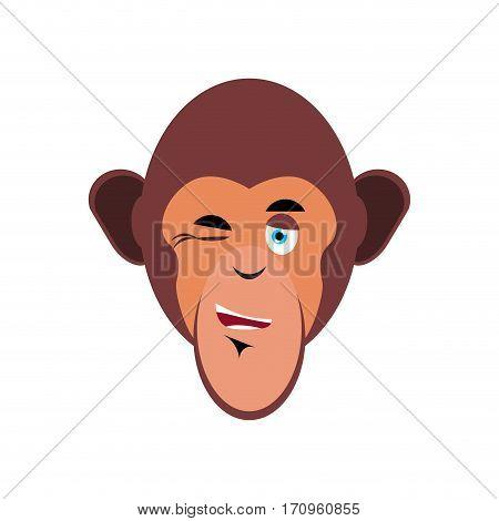 Monkey Winking Emoji. Marmoset Merry Emotion Isolated. Chimpanzee Face