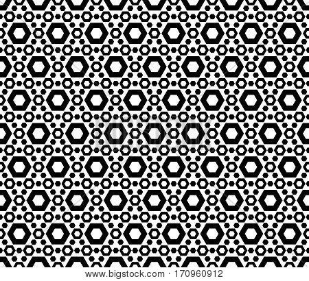 Vector monochrome seamless pattern. Modern geometric texture with simple figures, perforated hexagons. Repeat tiles. Black & white abstract mosaic background. Design for prints, decoration, textile, fabric, furniture