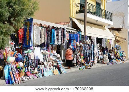 IERAPETRA, CRETE - SEPTEMBER 18, 2016 - Tourist gift shop near the harbour Ierapetra Crete Greece Europe, September 18, 2016.