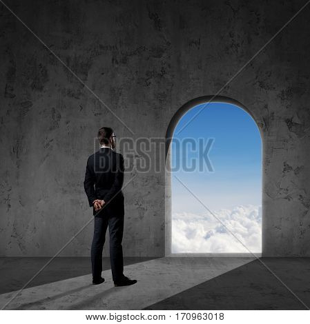 Businessman looking in bright future. Business, perspective, idea, concept.