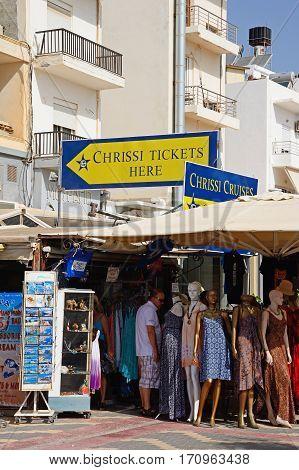 IERAPETRA, CRETE - SEPTEMBER 18, 2016 - Tourist clothing gift shop Ierapetra Crete Greece Europe, September 18, 2016.