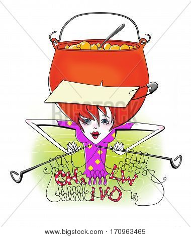 Girl with her head in a pot which cooks porridge knits on the needles and get involved chemical formulas. A method of storing information. Humor