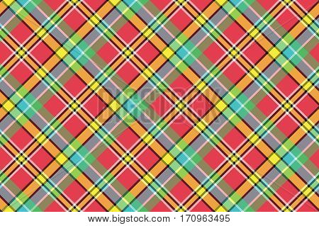 Madras diagonal plaid pixeled seamless background. Vector illustration.