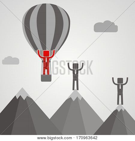 Businessman in balloon fly pass his competitor. Business idea concept. vector