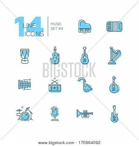 Musical Instruments - modern vector line design icons set with accent color. Piano, accordeon, kettledrum, violin, guitar, harp, metallophone, saxophone banjo drum kit microphone trumpet. Material design concept symbols