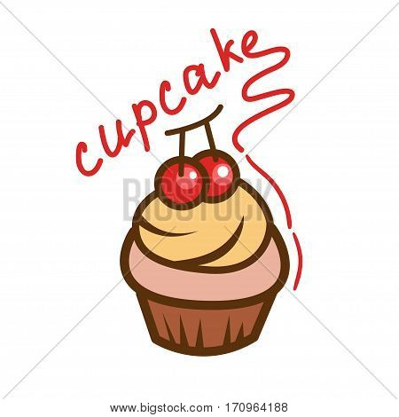 Tasty cupcake icon. Simple illustration for design