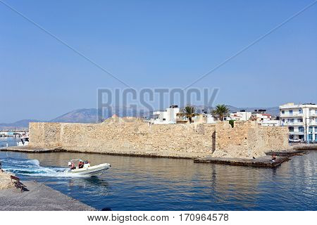 IERAPETRA, CRETE - SEPTEMBER 18, 2016 - View of the Kales Venetian fortress at the entrance to the harbour Ierapetra Crete Greece Europe, September 18, 2016.