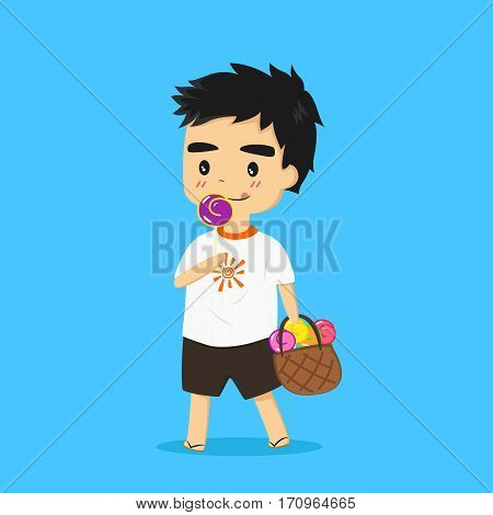 illustration of a little boy eating lollipop and carrying a bag full of colorful lollipops