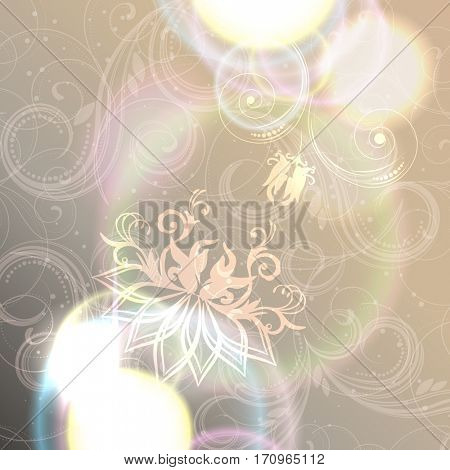 Abstract floral background with shine, glow blur, elegant design.