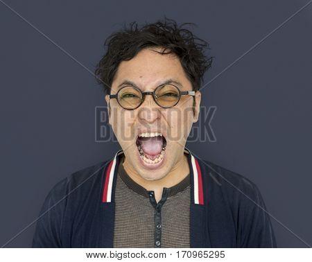 Man Face Scream Expression Emotion