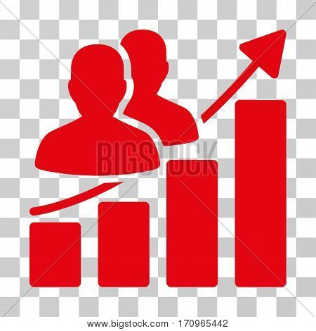 Audience Growth Bar Chart icon. Vector illustration style is flat iconic symbol red color transparent background. Designed for web and software interfaces.