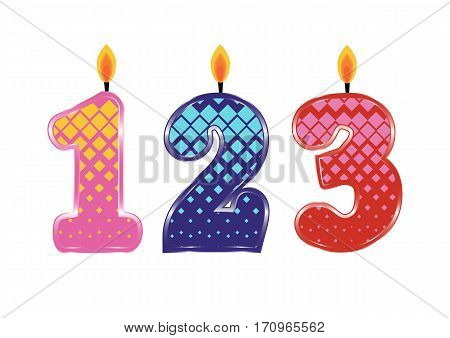 Set of Colorful Birthday Candles Isolated on White Background. Numbers One, Two, Three. Vector Illustration Design for Children Party, Baby Shower, Wedding.