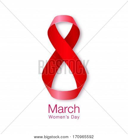 March 8 - Womens Day Paper Design of greeting card template. International Women's day Realistic symbol of red ribbon isolated on white background. Vector illustration.