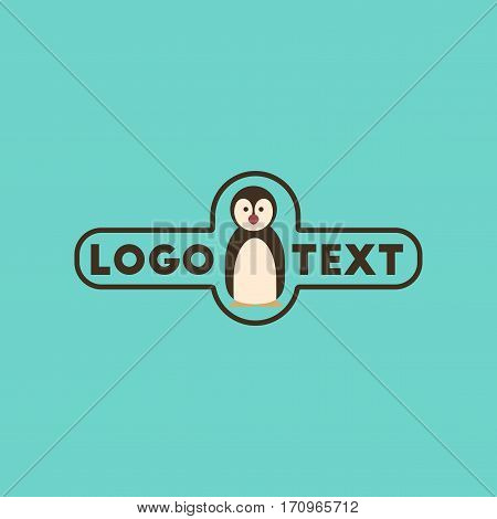 flat icon on stylish background penguin logo