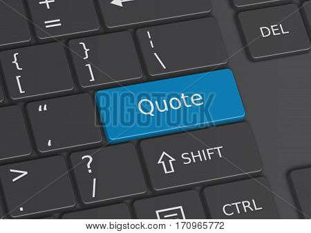 A 3D illustration of the word Quote written on a blue key from the keyboard