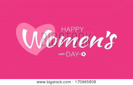 White happy Womens Day typographic lettering on pink red background with heart and flower. Vector Illustration of a Women's Day card.