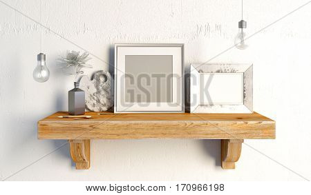 3d illustration still life on a shelf. loft style.frame mock up