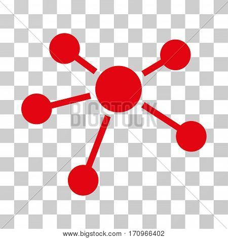 Connections icon. Vector illustration style is flat iconic symbol red color transparent background. Designed for web and software interfaces.