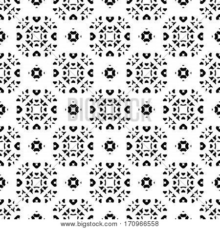 Vector monochrome seamless pattern, subtle geometric texture, black & white traditional ornament, oriental style. Abstract endless background, repeat tiles. Design for prints, decoration, textile, cloth, fabric, furniture, digital, web