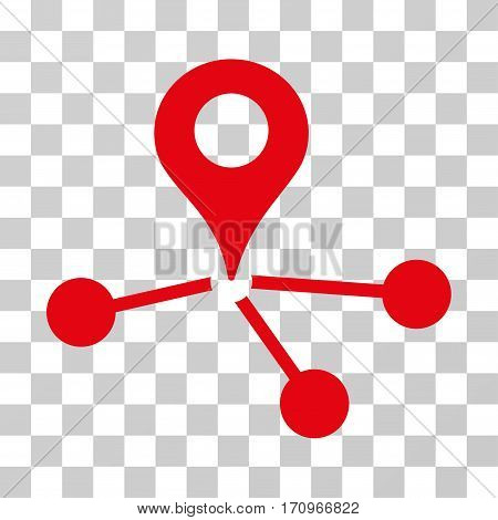 Geo Network icon. Vector illustration style is flat iconic symbol red color transparent background. Designed for web and software interfaces.