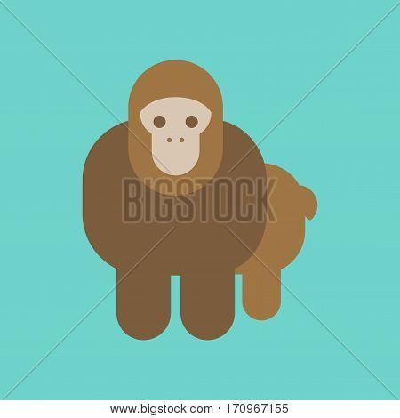 flat icon on stylish background Cartoon monkey