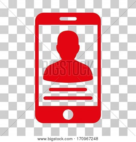 Mobile Account icon. Vector illustration style is flat iconic symbol red color transparent background. Designed for web and software interfaces.