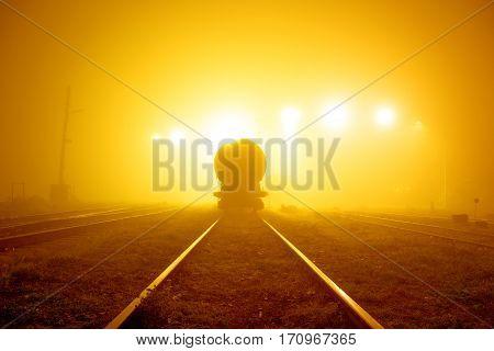 Railway in the mist, the gloomy concept, fog