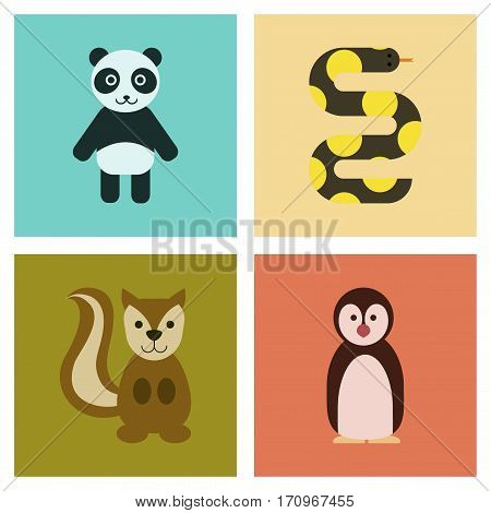 assembly of flat icons nature Panda bear snake squirrel penguins